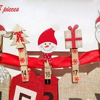 Decoration Calendrier De L Avent En Bois.Pince A Cadeaux De Noel Calendrier De L Avent En Bois Deco Noel Chambre D Enfant